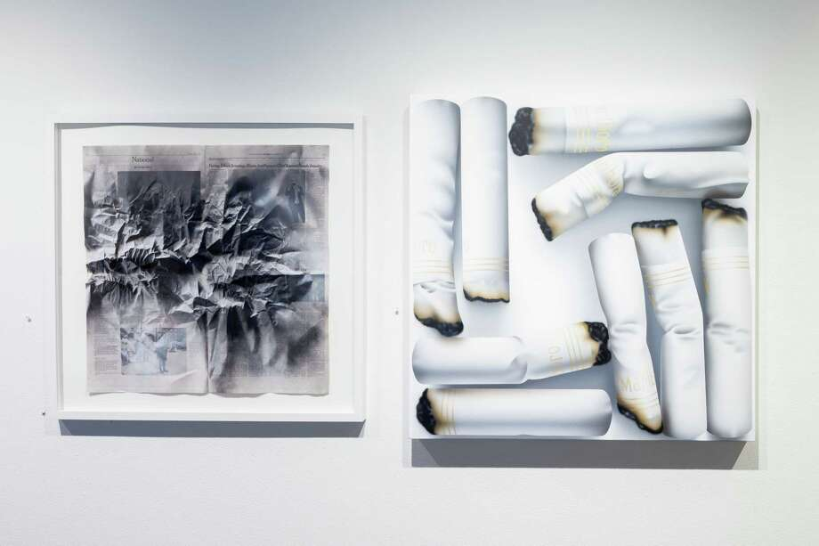 "Renata Lucia's ""News vs. Nature (Inquiry), left, and Rachel Hecker's ""Cigarette Arrangement #2"" are among works in 2017's ""The Big Show."" Lucia, an emerging artist, won one of the three awards given by juror Toby Kamps. Hecker, a veteran, teaches at the University of Houston. Photo: Alex Barber / © Alex Barber"