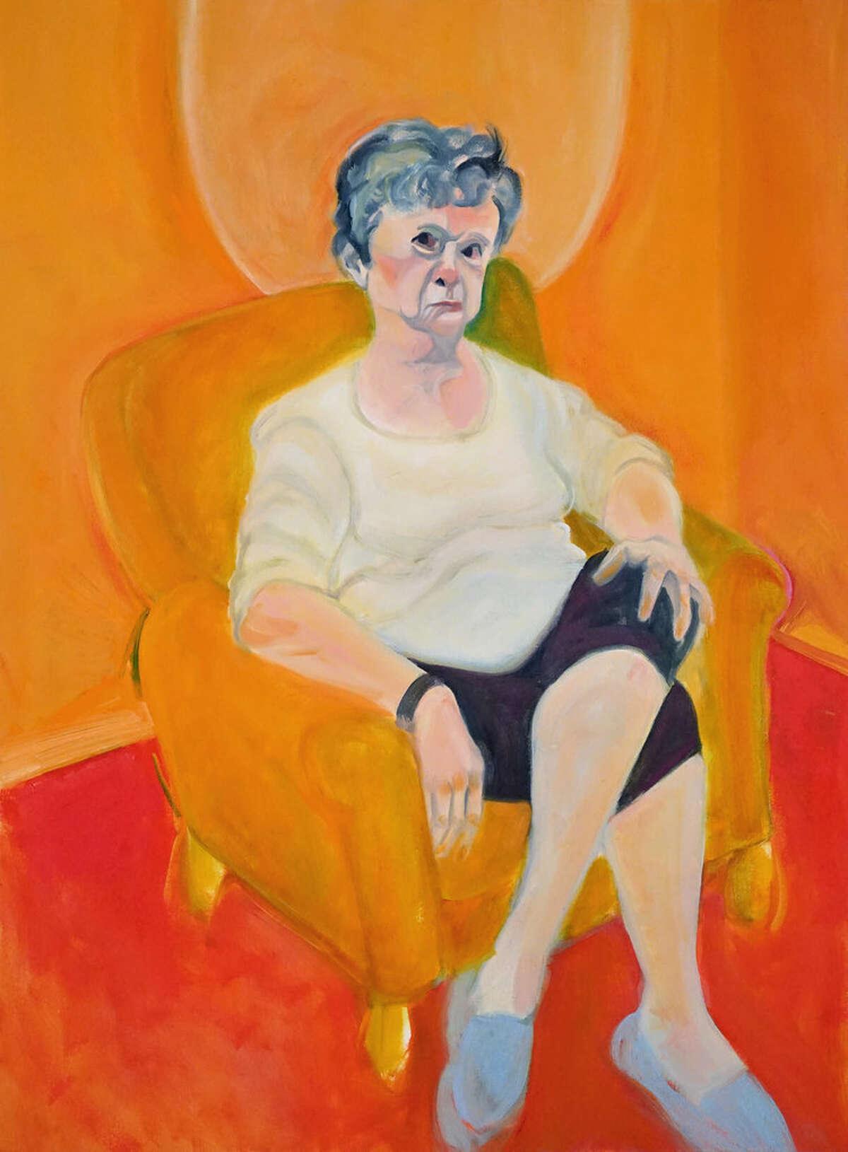 """Kathy Drago's figurative painting """"I Am So UPSET!"""" also won."""