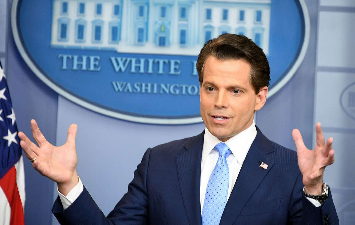 Anthony Scaramucci, named Donald Trump's new White House communications director speaks during a press briefing at the White House in Washington, DC on July 21, 2017. Anthony Scaramucci, named Donald Trump's new White House communications director, is a millionaire former hedge fund investor who shores up the stable of bankers in the president's inner circle.It is the first administration role for the 53-year-old Republican fundraiser with telegenic looks who has long been an articulate surrogate for the president and who was first named to his transition team last November. / AFP PHOTO / JIM WATSONJIM WATSON/AFP/Getty Images