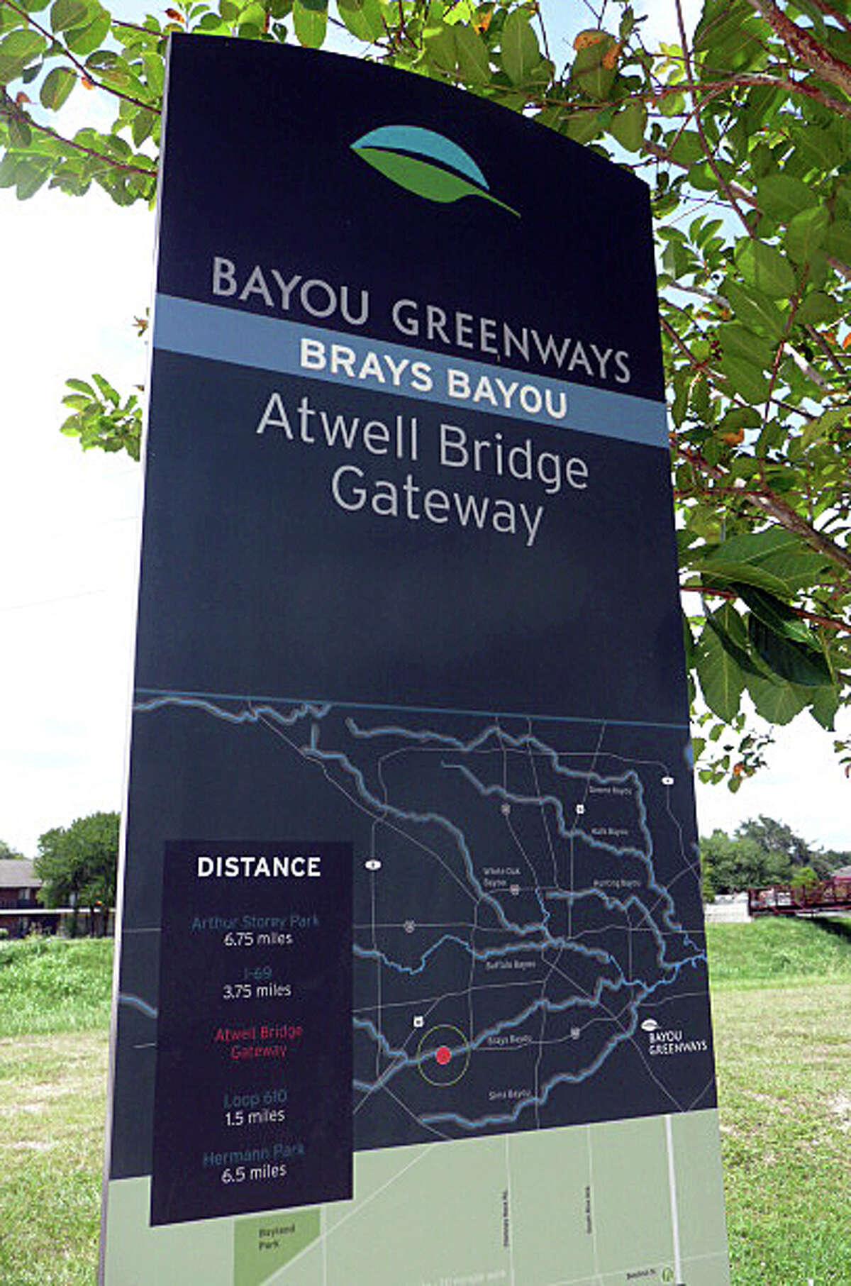 Some of the new Bayou Greenways signage along Brays Bayou Greenway.