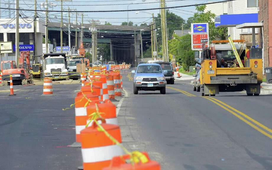 The Stamford Urban Transitway remains a construction site, shown in this Thursday July 18, 2017 photo taken looking down Mytle Avenue from Elm Street in Stamford, Connecticut. The project was supposed to be finished two years ago. Stamford Mayor David Martin apparently has a plan for making sure it gets completed by the fall of 2017. Photo: Matthew Brown / Hearst Connecticut Media / Stamford Advocate