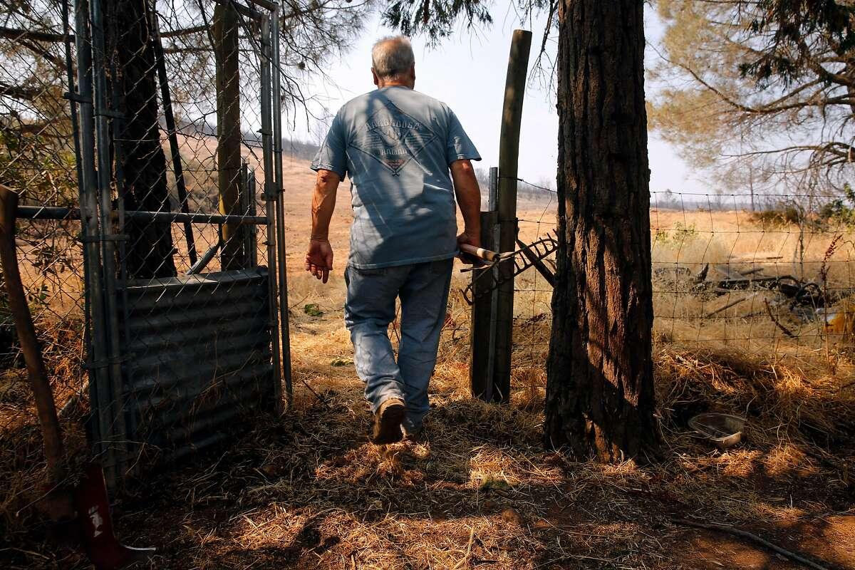 George Skogan stayed in his home during the evacuation and is now clearing brush around his backyard, in Mt. Bullion, Ca., on Friday July 21, 2017.The fire came within 30 yards of his home.