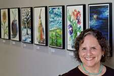 Westport artist Leona Frank has created art through the Notes app on her iPhone for about a year. A recent exhibition at the Westport Library revealed the painterly treatment her subjects receive, even with the application's limited colors and tools.