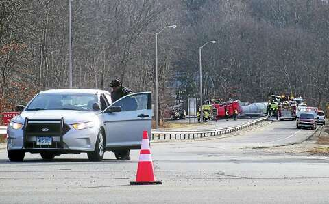 Update: Exit 55 ramps reopen after rollover truck crash in Branford