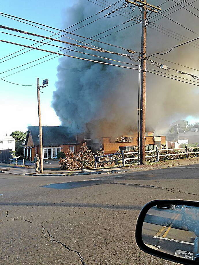 Heavy fire at Gino's Steakhouse in West Haven. (Courtesy of WTNH Report It / Brigitte) Photo: Journal Register Co.