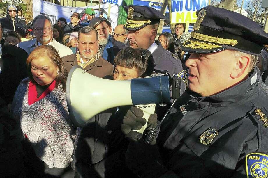 Police Chief Dean Esserman speaks to demonstrators on Wednesday, Jan. 6, in Fair Haven. (Esteban L. Hernandez - New Haven Register) Photo: Journal Register Co.
