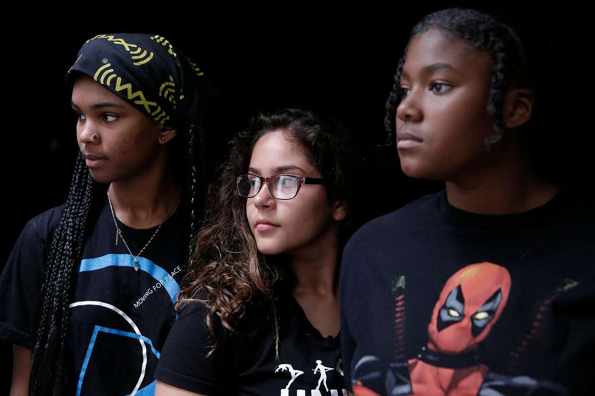 (l to r) Tyla Cann as Aisha, Citlali Perez as Mercedes and Tiana Bishop as Dani, are the principal actresses in