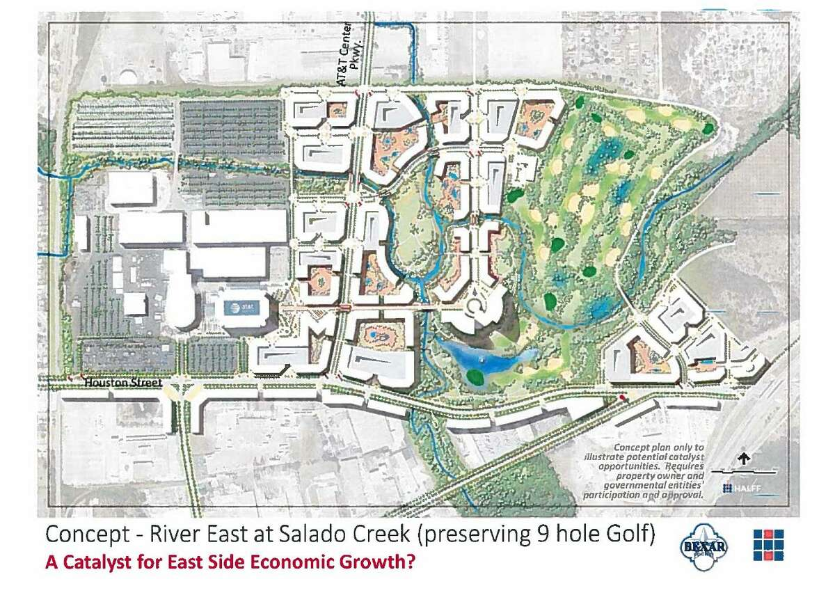 """Bexar County Commissioner Tommy Calvert has an ambitious plan that he thinks could clear the way for """"River East,"""" an arena-anchored neighborhood and entertainment district similar to those seen around the Mavericks' American Airlines Center in Dallas and the Lakers' Staples Center in Los Angeles."""