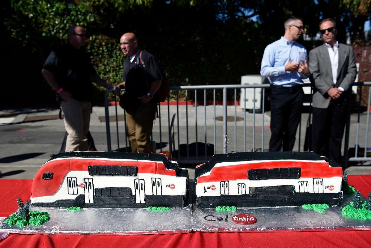 A Caltrain cake waits for guests during a groundbreaking ceremony and event for Caltrain's electrification and modernization project, at the Caltrain Station in Millbrae, CA, on Friday July 21, 2017.