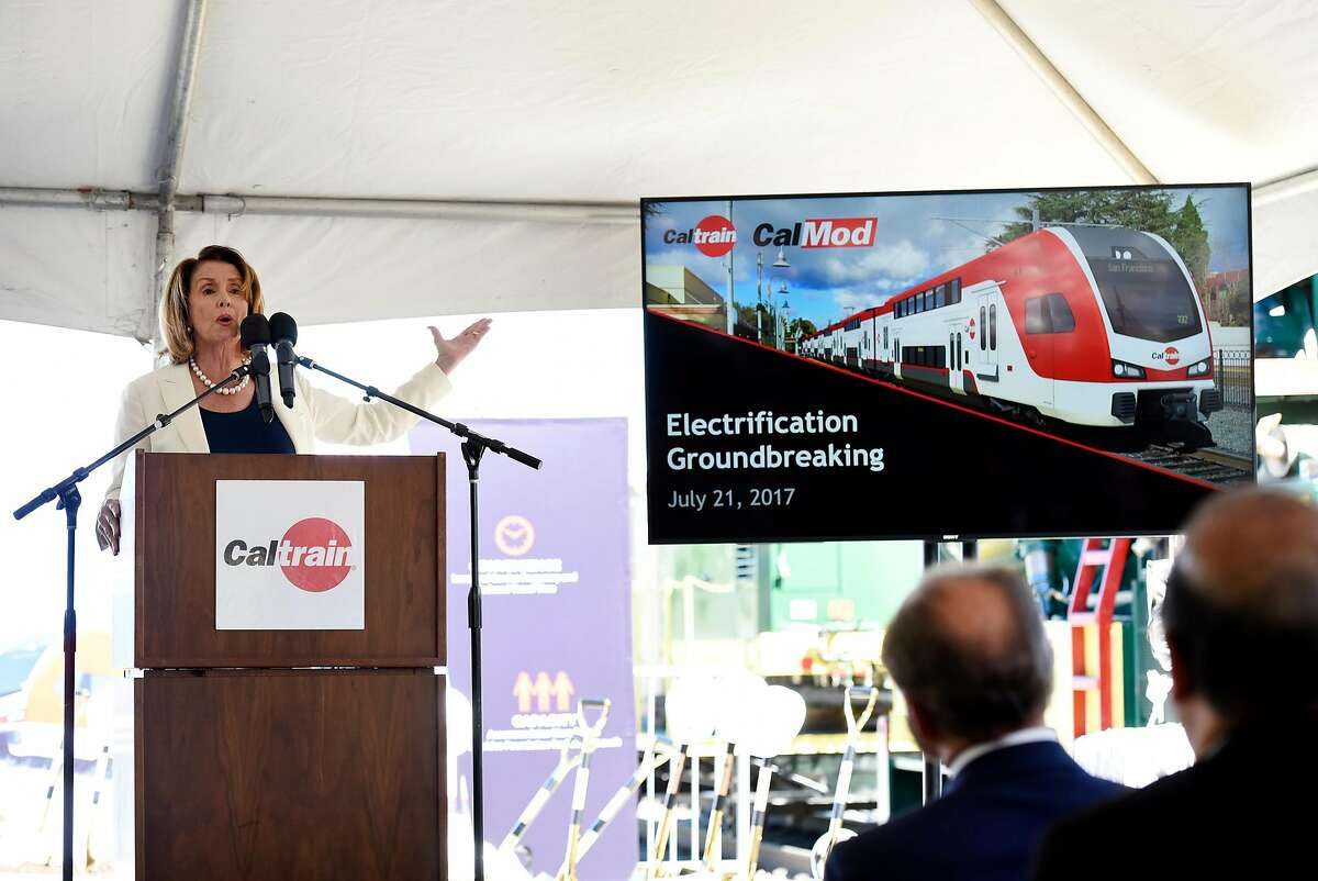 House Minority Leader Nancy Pelosi speaks during a groundbreaking ceremony and event for Caltrain's electrification and modernization project, at the Caltrain Station in Millbrae, CA, on Friday July 21, 2017.