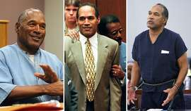 O.J. Simpson is seen in 2017 (left), during his trial in 1995 and in 2008.