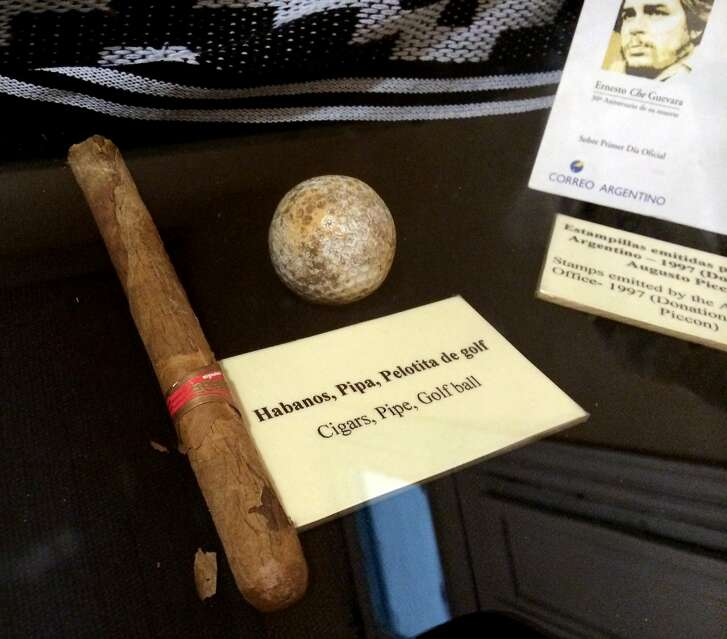 A display at the Museo Casa del Che in Alta Gracia, Argentina, that includes one of the revolutionary's trademark cigars.