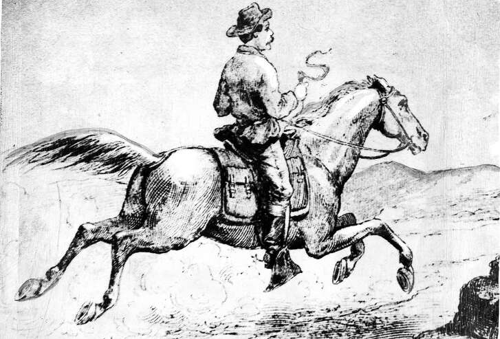 """Illustration of the Pony Express titled """"The Pony Express (reproduced from  A.L. Stimson, History of the Express   Handout"""