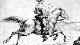 "Illustration of the Pony Express titled ""The Pony Express (reproduced from  A.L. Stimson, History of the Express   Handout"