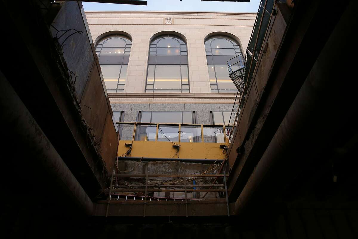 The view from down below from where the Powell Street station will be located up to Ellis St. from the Central Subway project, in San Francisco, Ca., as seen on Wednesday July 12, 2017.