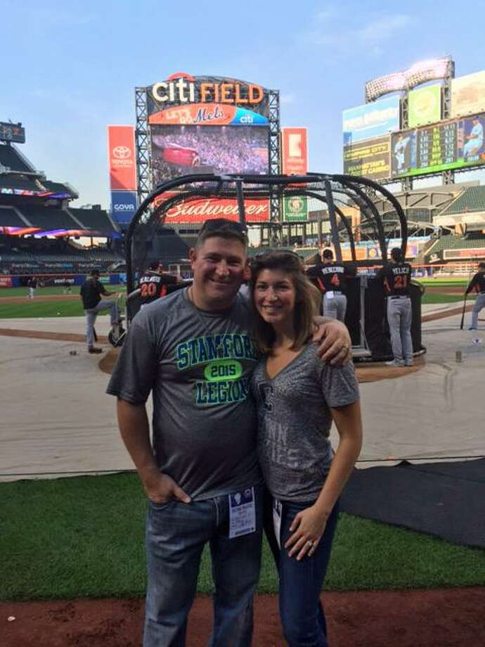 Stamford American Legion's Chris Sabia with his wife Emma  at Citi Field in September the day before he began cancer treatments. September 2015. Photo: Contributed Photo / Contributed Photo / Stamford Advocate Contributed