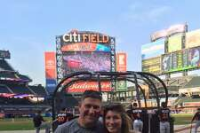 Stamford American Legion's Chris Sabia with his wife Emma  at Citi Field in September the day before he began cancer treatments. September 2015.