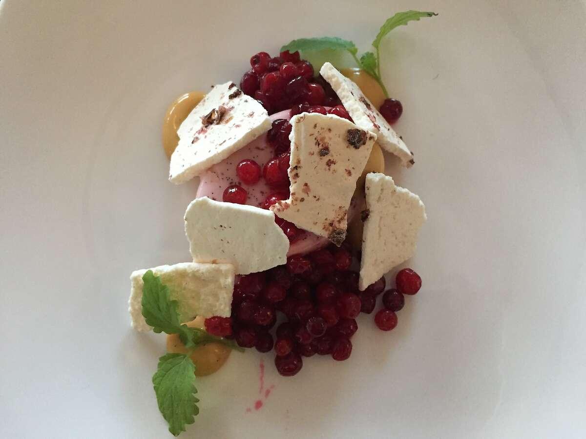 Lingonberries adorn a dessert at Fiskekrogen restaurant in�Henningsv�r in Lofoten, Norway