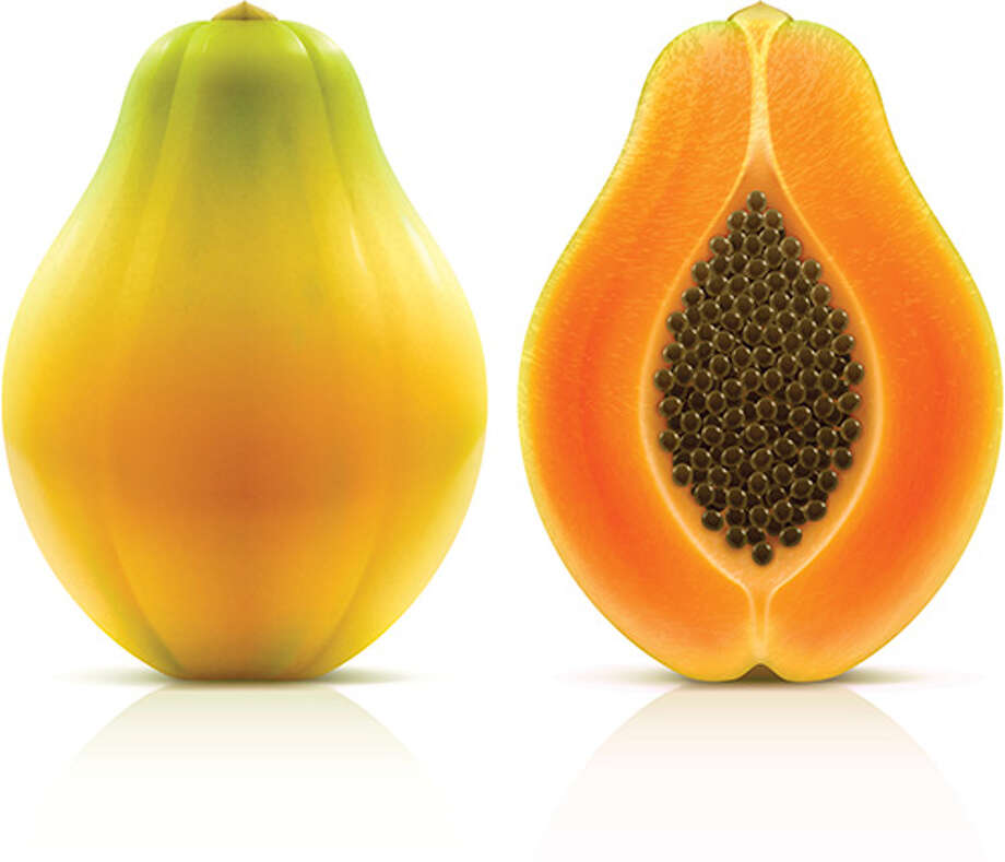 Maradol papayas are a large, oval fruit that weighs 3 or more pounds, with green skins that turn yellow when the fruit is ripe. The flesh inside the fruit is salmon-colored.>>Keep clicking for the 11 foods most likely to cause foodborne illness and how to protect yourself and your family.  / Evgeniy Ivanov
