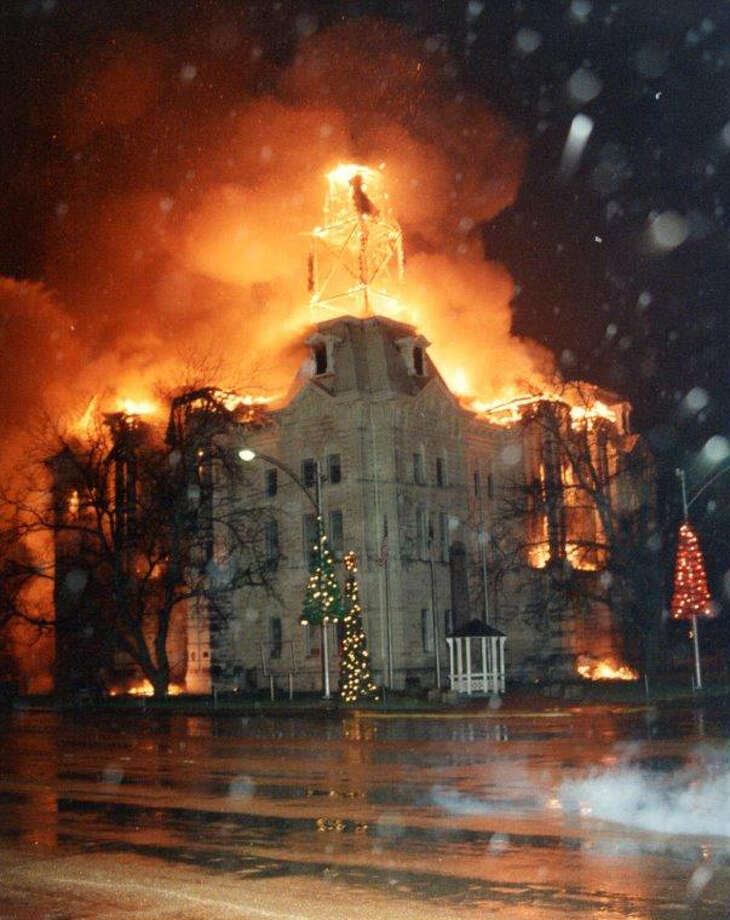 The historic Hill County Courthousewent up in flames on New Year's night 1993. Residents resolved to restore the courthouse and their community's purpose. / handout