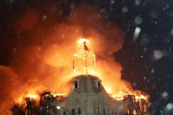 The historic Hill County Courthouse went up in flames on New Year's night 1993. Residents resolved to restore the courthouse and their community's purpose.