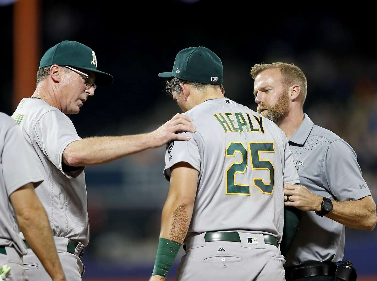 NEW YORK, NY - JULY 21: Ryon Healy #25 of the Oakland Athletics is taken out of the game by manager Bob Melvin #6 of the Oakland Athletics on July 21, 2017 at Citi Field in the Flushing neighborhood of the Queens borough of New York City. (Photo by Elsa/Getty Images)