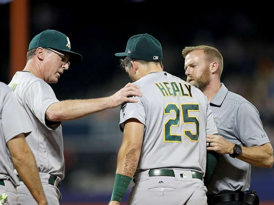 NEW YORK, NY - JULY 21:  Ryon Healy #25 of the Oakland Athletics is taken out of the game by manager Bob Melvin #6 of the Oakland Athletics on July 21, 2017 at Citi Field in the Flushing neighborhood of the Queens borough of New York City.  (Photo by Elsa/Getty Images) Photo: Elsa, Getty Images