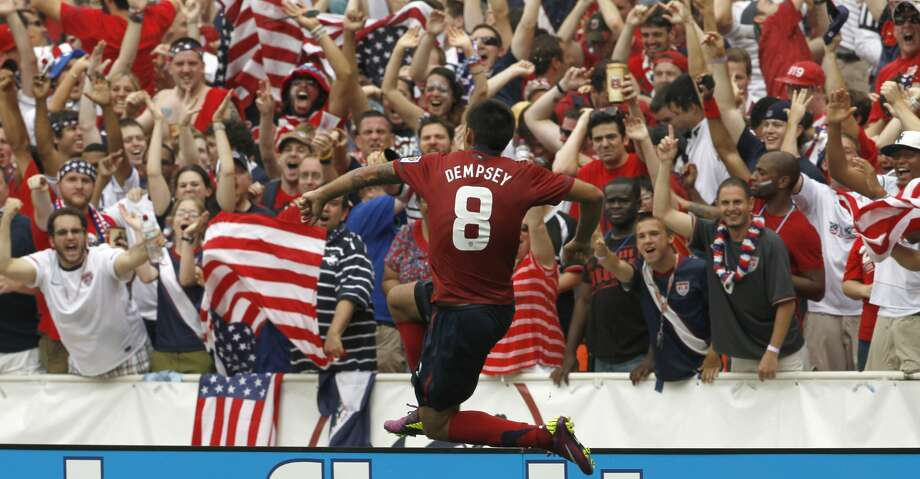 United States' Clint Dempsey (8) reacts after his goal during the second half of a CONCACAF Gold Cup quarterfinal soccer match against Jamaica on Sunday, June 19, 2011, at RFK Stadium in Washington. The United States won 2-0. (AP Photo/Alex Brandon) Photo: Alex Brandon/AP