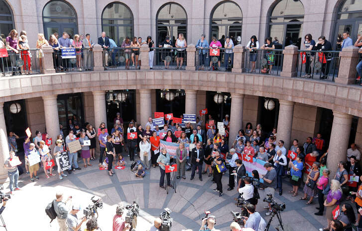 "Opponents of the ""bathroom bills"" hold a press conference at the Texas State Capitol Friday July 21, 2017 in Austin, Tx."