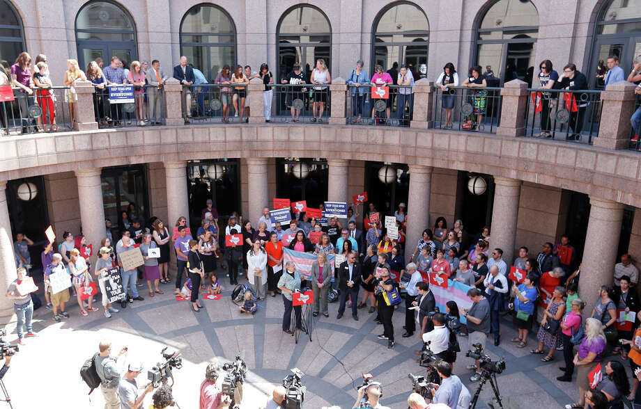 "Opponents of the ""bathroom bills"" hold a press conference at the Texas State Capitol Friday July 21, 2017. Supporters of the bill have also drawn big crowds to the statehouse to seek its passage. Photo: Edward A. Ornelas, Staff / © 2017 San Antonio Express-News"