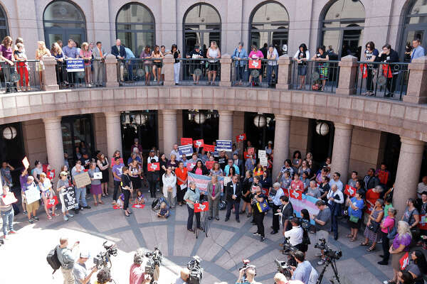 """Opponents of the """"bathroom bills"""" hold a press conference at the Texas State Capitol Friday July 21, 2017 in Austin, Tx."""