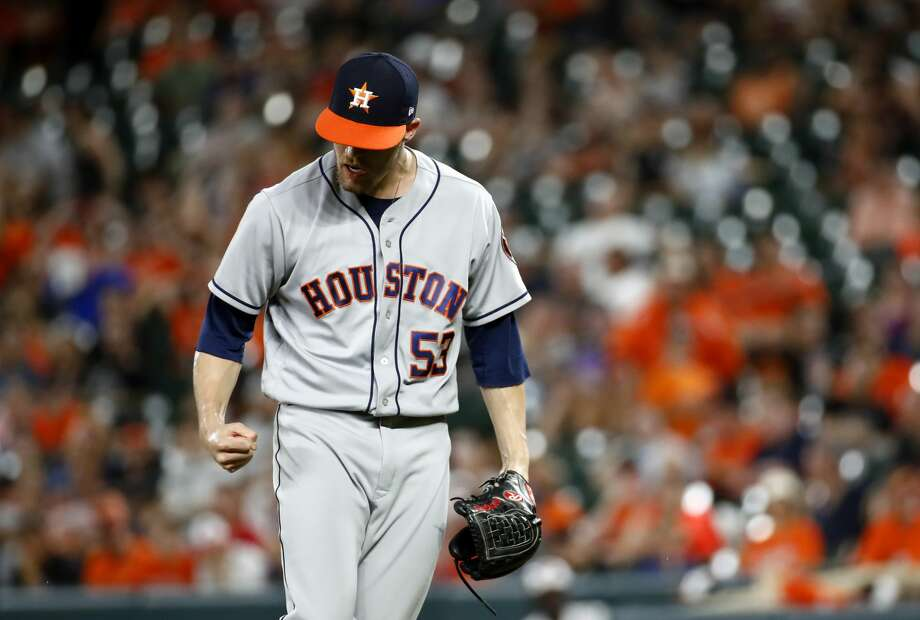 Houston Astros relief pitcher Ken Giles reacts after closing out a baseball game against the Baltimore Orioles in Baltimore, Friday, July 21, 2017. (AP Photo/Patrick Semansky) Photo: Patrick Semansky/Associated Press