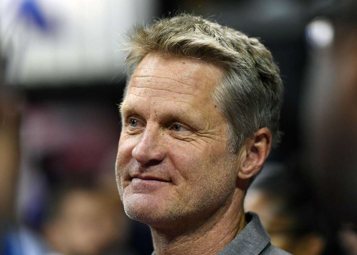 LAS VEGAS, NV - JULY 12: Head coach Steve Kerr of the Golden State Warriors looks on during a 2017 Summer League game between the Warriors and the Minnesota Timberwolves at the Thomas & Mack Center on July 12, 2017 in Las Vegas, Nevada. Golden State won 77-69. NOTE TO USER: User expressly acknowledges and agrees that, by downloading and or using this photograph, User is consenting to the terms and conditions of the Getty Images License Agreement. (Photo by Ethan Miller/Getty Images)