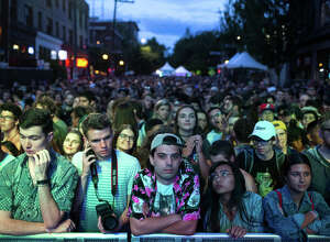 Fans wait for Wolf Parade to take to the stage on the first day of Capitol Hill Block Party on Friday, July 21, 2017.