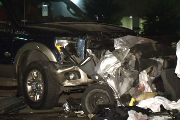 Police investigated a triple-fatality car wreck in Houston.