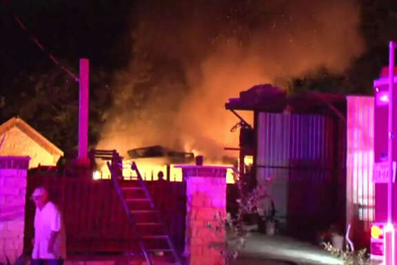 A storage building went up in flames early Saturday morning in northwest Harris County.