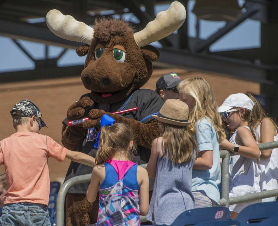 Juice the Moose signs autographs for area students during kids day May 3 at Security Bank Ballpark. The Midland RockHounds' final homestand is against the San Antonio Missions Aug. 29-Sept. 1. Photo: Tim Fischer/Midland Reporter-Telegram