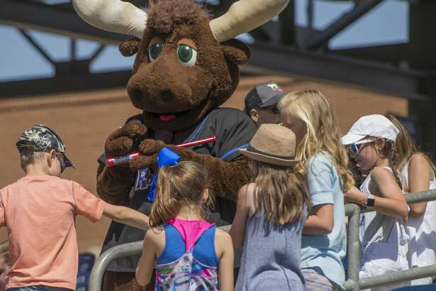 Juice the Moose signs autographs for area students during kids day May 3 at Security Bank Ballpark. The Midland RockHounds' final homestand is against the San Antonio Missions Aug. 29-Sept. 1.