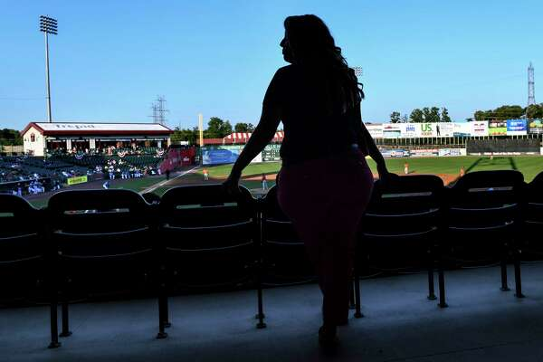 Courtney Knichel, the general manager of the independent Southern Maryland Blue Crabs, oversees a game night.