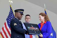 """On Saturday, July 22, 2017 at the Danbury Farmers Market there was a Military Medals Presentation for Mr. Robert """"Darnell"""" Carpenter U.S. Army Veteran by Congresswoman Elizabeth Esty."""