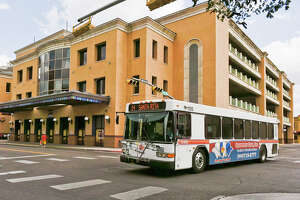 In this LMT File Photo, an El Metro bus is seen departing from the Laredo Transit Center in downtown Laredo.