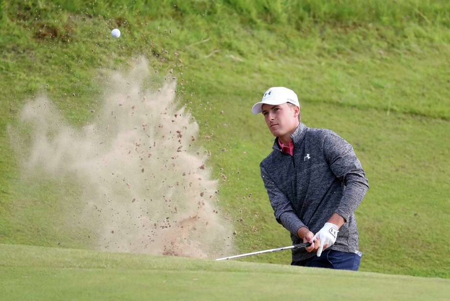 Jordan Spieth of the United States plays out of a bunker on the 17th hole during the third round of the British Open Golf Championship, at Royal Birkdale, Southport, England, Saturday July 22, 2017. (AP Photo/Peter Morrison) Photo: Peter Morrison, STR / Copyright 2017 The Associated Press. All rights reserved.