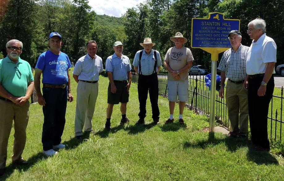 On July 19, Stanton Hill Cemetery board members and their guests dedicated a historic marker at the Route 51, New Baltimore, gravesite, which is on the National, State and County Registers of Historic Places ?and where the earliest headstone dates to 1826. Attendding are Greene County Historian Dave Dorpfeld, cemetery trustee Ted Flegel, Assemblyman Peter Lopez, trustees Lee Salisbury and Richard Pacuk, cemetery president Art Byas, trustee Ted Hilscher and New Baltimore Town Supervisor Nick Dellisanti. (Provided photo)