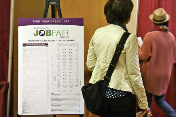 Job seekers enter the Times Union Job Fair at the Albany Marriott Wednesday Oct. 19, 2016 in Colonie, NY.   (John Carl D'Annibale / Times Union)
