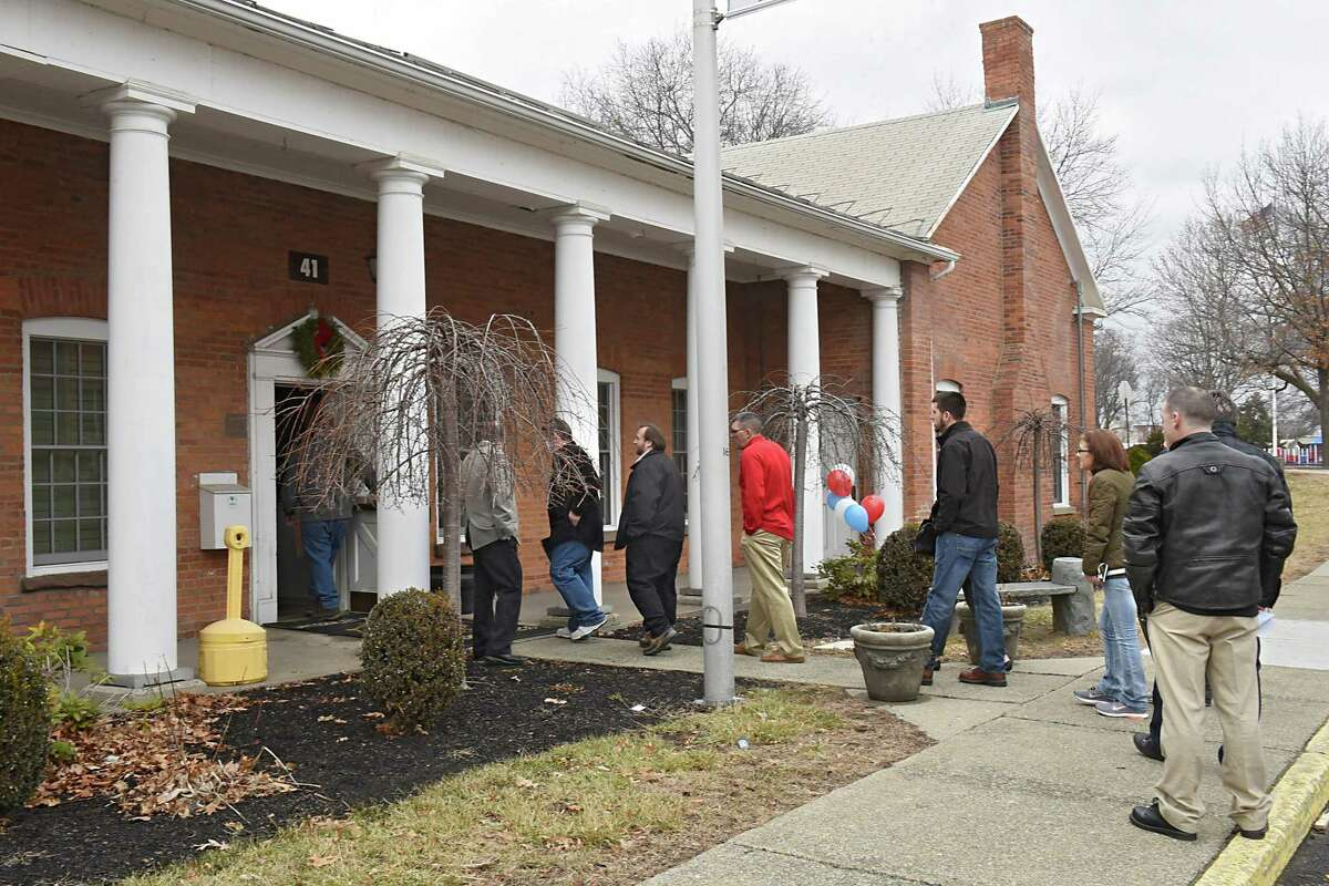 A line of job seekers is seen coming out of the building holding the Watervliet Arsenal's first job fair at the secured facility in more than 30 years on Friday, Jan. 20, 2017 in Watervliet, N.Y. (Lori Van Buren / Times Union)