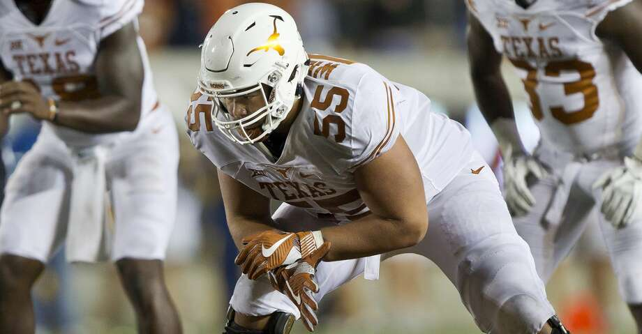 Connor Williams (pictured) displayed a noticeably leaner physique at Big 12 Media Days, the result of rigorous training sessions with new strength and conditioning coach Yancy McKnight. Photo: Brian Bahr/Getty Images