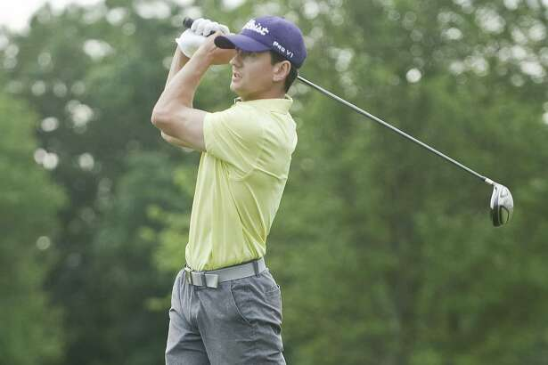 Joe Bonyai tees off on the first day of the Danbury amateur golf tournament Saturday at Richter Park in Danbury.