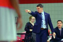 Sacred Heart University Head Coach Anthony Latina during men's college basketball action against Central Connecticut in Fairfield, Conn. on Saturday Feb. 11, 2017.