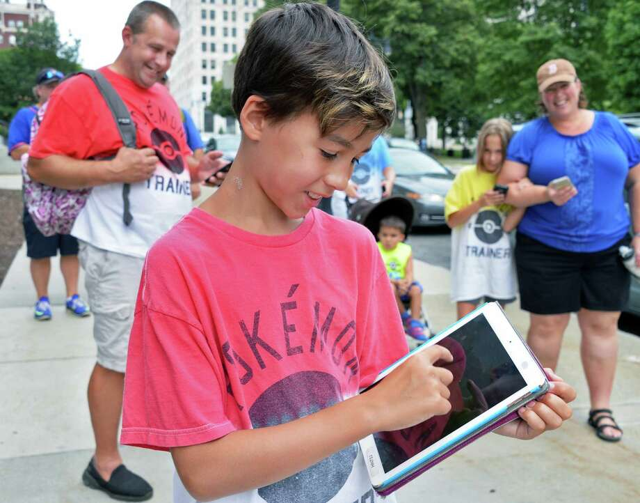 Ten-year-old Aiden Kelly of Albany at the Empire State Plaza for Pokemon GO Fest in Albany, NY.Saturday July 22, 2017 in Albany, NY.  (John Carl D'Annibale / Times Union) Photo: John Carl D'Annibale, Albany Times Union / 20041079A