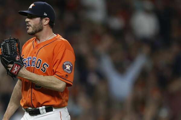 Houston Astros relief pitcher James Hoyt (51) reacts after giving up a grand slam to New York Yankees Brett Gardner during the seventh inning of an MLB baseball game at Minute Maid Park, Friday, June, 30, 2017. ( Karen Warren / Houston Chronicle )